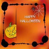 Plantilla de las tarjetas de la acción para el partido de Halloween Calabaza del dibujo de la mano, araña, web Marco de la salpic Fotos de archivo