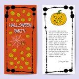 Plantilla de las tarjetas de la acción para el partido de Halloween Calabaza del dibujo de la mano, araña, web Marco de la salpic Imágenes de archivo libres de regalías