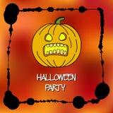 Plantilla de las tarjetas de la acción para el partido de Halloween Calabaza del dibujo de la mano Marco de la salpicadura Inscri Fotografía de archivo libre de regalías