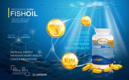 Plantilla de los anuncios del aceite de pescado Fotos de archivo