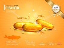 Plantilla de los anuncios del aceite de pescado Fotografía de archivo