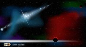 Plantilla de los anuncios del espacio de Exoplanets Fondo cósmico de las luces de las estrellas ejemplo realista del vector 3D Imágenes de archivo libres de regalías
