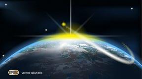 Plantilla de los anuncios del espacio de la tierra Fondo cósmico de las luces de las estrellas ejemplo realista del vector 3D Imagenes de archivo
