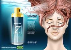 Plantilla de los anuncios de la protección de la laca para el pelo, con la muchacha debajo del agua con los ojos cerrados Mofa re stock de ilustración