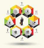 Plantilla de los hexágonos con los iconos Imagen de archivo libre de regalías