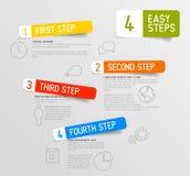 Plantilla de los pasos de Infographic 4 Imágenes de archivo libres de regalías