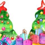 Plantilla de los regalos de Navidad de la acuarela con el árbol de navidad adornado stock de ilustración