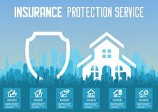 Plantilla de los servicios a empresas del seguro de la casa Ilustración del vector Puede ser utilizado para la disposición del fl libre illustration