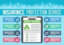 Plantilla de los servicios a empresas del seguro de la casa Ilustración del vector Puede ser utilizado para la disposición del fl ilustración del vector