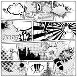 Plantilla de los tebeos Ejemplo retro de las burbujas del discurso del cómic del vector Maqueta de la página con el lugar para el Foto de archivo