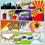 Plantilla de los tebeos Ejemplo retro de las burbujas del discurso del cómic del vector Maqueta de la página del cómic con el lug libre illustration