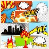 Plantilla de los tebeos Ejemplo retro de las burbujas del discurso del cómic del vector Maqueta de la página del cómic con el lug ilustración del vector