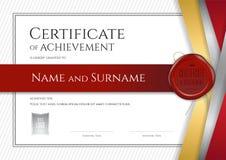 Plantilla de lujo del certificado con el marco elegante de la frontera, diploma d Fotografía de archivo
