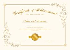 Plantilla de lujo del certificado con el marco elegante de la frontera, diploma d ilustración del vector