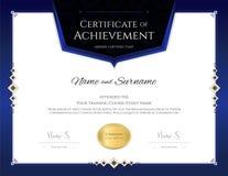 Plantilla de lujo del certificado con el marco elegante de la frontera, diploma d stock de ilustración