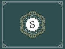 Plantilla de lujo del logotipo en el vector para el restaurante, derechos, boutique, café, hotel, heráldico, joyería imágenes de archivo libres de regalías