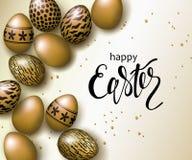Plantilla de lujo feliz del fondo de la bandera de Pascua con los huevos de oro realistas hermosos Tarjeta de felicitación Ilustr Imagen de archivo libre de regalías