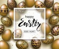 Plantilla de lujo feliz del fondo de la bandera de Pascua con los huevos de oro realistas hermosos Tarjeta de felicitación Ilustr libre illustration