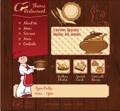 Plantilla de madera del web del restaurante Fotos de archivo libres de regalías