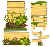 Plantilla de madera de la muestra con el musgo y la seta Imagen de archivo libre de regalías