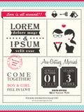 Plantilla de moda retra de la tarjeta de la invitación de la boda Fotografía de archivo libre de regalías