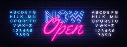 Plantilla de neón ahora abierta del diseño del vector del texto Logotipo de neón ahora abierto, tendencia colorida del diseño mod ilustración del vector