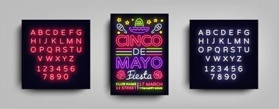Plantilla de neón del estilo del diseño del cartel de Cinco de Mayo Señal de neón, aviador de neón ligero brillante, día de fiest ilustración del vector