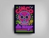 Plantilla de neón del estilo del diseño del cartel de Sinco de Mayo Señal de neón, aviador de neón ligero brillante, bandera lige libre illustration