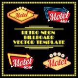 Plantilla de neón retra del vector de la cartelera del motel Fotos de archivo libres de regalías