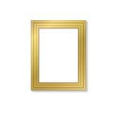 Plantilla de oro en blanco del marco para las imágenes y las fotos Aislado Imagen de archivo libre de regalías