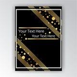 Plantilla de oro-negra, A4 página, menú, tarjeta, invitación de Art Deco stock de ilustración
