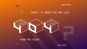 plantilla de 404 páginas para el sitio web Plantilla plana del diseño de la página del vector 404 del diseño Página plana del dis Fotografía de archivo libre de regalías