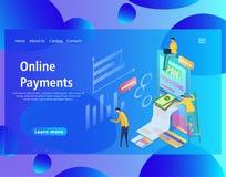 Plantilla de pagos en línea isométricos, banco móvil del diseño de la página web libre illustration