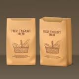Plantilla de papel realista del paquete con la etiqueta del pan en frente y medias vistas laterales Foto de archivo