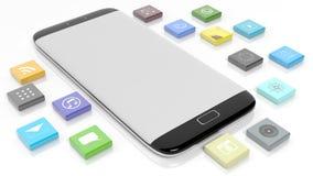 Plantilla de Smartphone con los apps en forma de un cuadrado biselado ilustración del vector