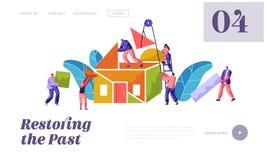 Plantilla de Team Builder Construction Home Website Hombre y mujer Carry Part Material para construir Gente en la instalación de stock de ilustración