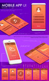 Plantilla de UI, de UX y del GUI para el App móvil Fotografía de archivo