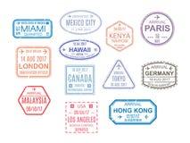 Plantilla de un pasaporte abierto con los sellos, sellos Viaje, inmigración stock de ilustración