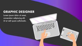 Plantilla de Website Banner Vector del diseñador gráfico stock de ilustración
