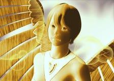 Plantilla del ángel del oro y de la plata stock de ilustración