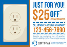 Plantilla del anuncio de la postal para el electricista co stock de ilustración