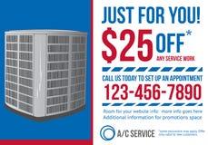 Plantilla del anuncio de la postal para la compañía de la HVAC ilustración del vector
