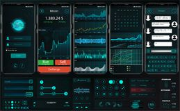 Plantilla del app del interfaz para la plataforma comercial UI UX stock de ilustración
