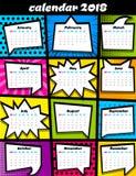 plantilla del arte pop de 2018 calendarios Foto de archivo