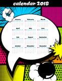 plantilla del arte pop de 2018 calendarios Fotografía de archivo libre de regalías