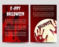 Plantilla del aviador de Halloween con los handprints sangrientos libre illustration
