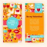 Plantilla del aviador de Valentine Day Objects y de elementos felices Imagen de archivo libre de regalías