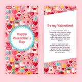 Plantilla del aviador de Valentine Day Objects y de elementos felices Fotografía de archivo libre de regalías