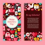 Plantilla del aviador de Valentine Day Objects y de elementos felices planos Fotografía de archivo libre de regalías