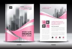 Plantilla del aviador del folleto del informe anual, diseño rosado de la cubierta ilustración del vector